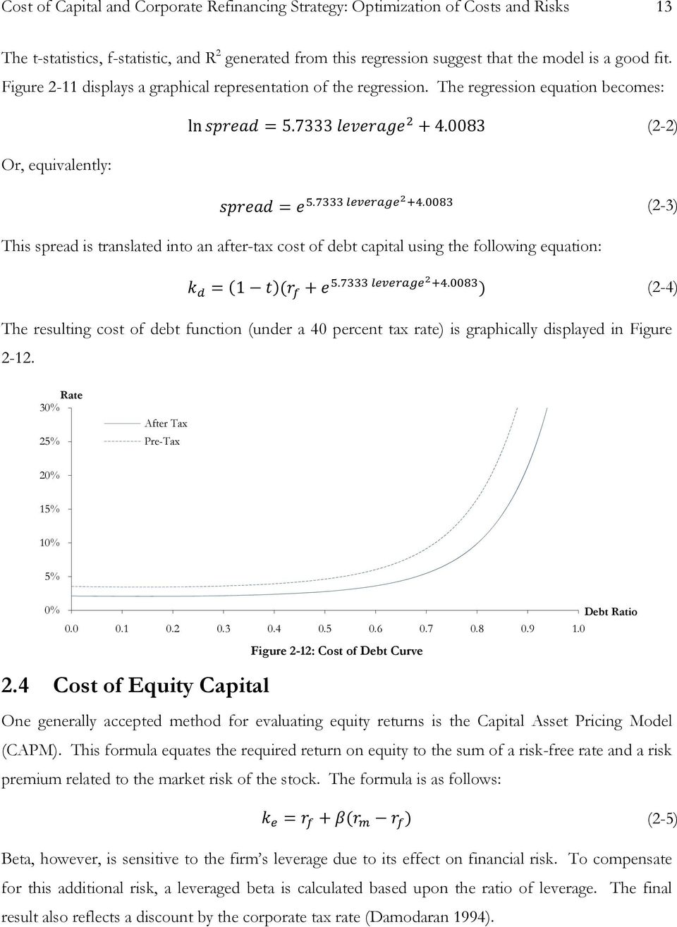 . (2-3) This spread is translated into an after-tax cost of debt capital using the following equation: = (1 )( +.