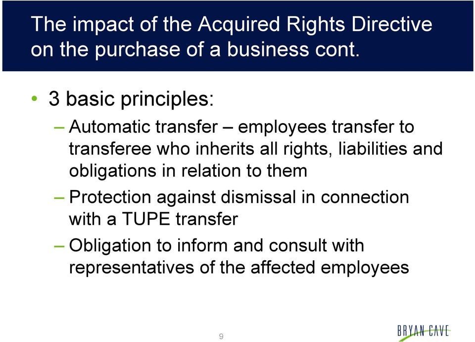 rights, liabilities and obligations in relation to them Protection against dismissal in
