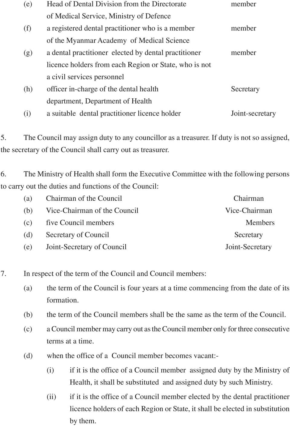 department, Department of Health (i) a suitable dental practitioner licence holder Joint-secretary 5. The Council may assign duty to any councillor as a treasurer.