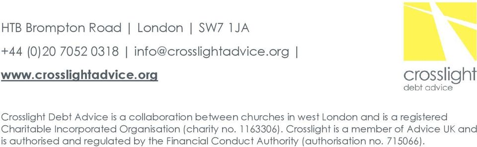 org Crosslight Debt Advice is a collaboration between churches in west London and is a registered