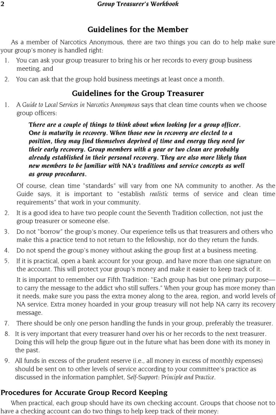 Guidelines for the Group Treasurer 1.