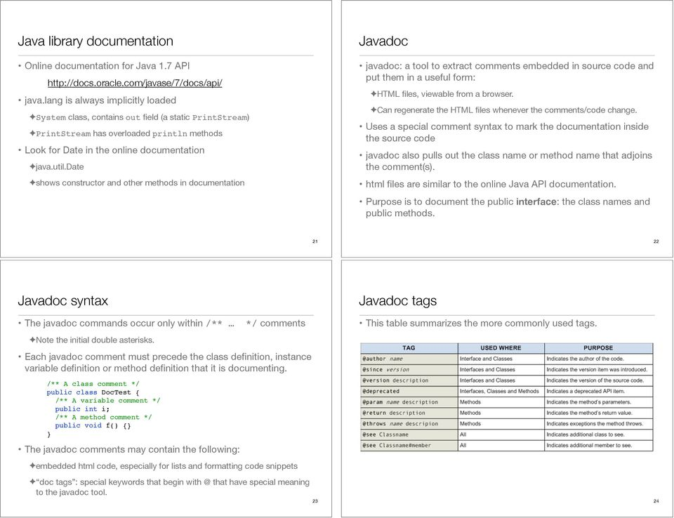 date shows constructor and other methods in documentation Javadoc javadoc: a tool to extract comments embedded in source code and put them in a useful form: HTML files, viewable from a browser.