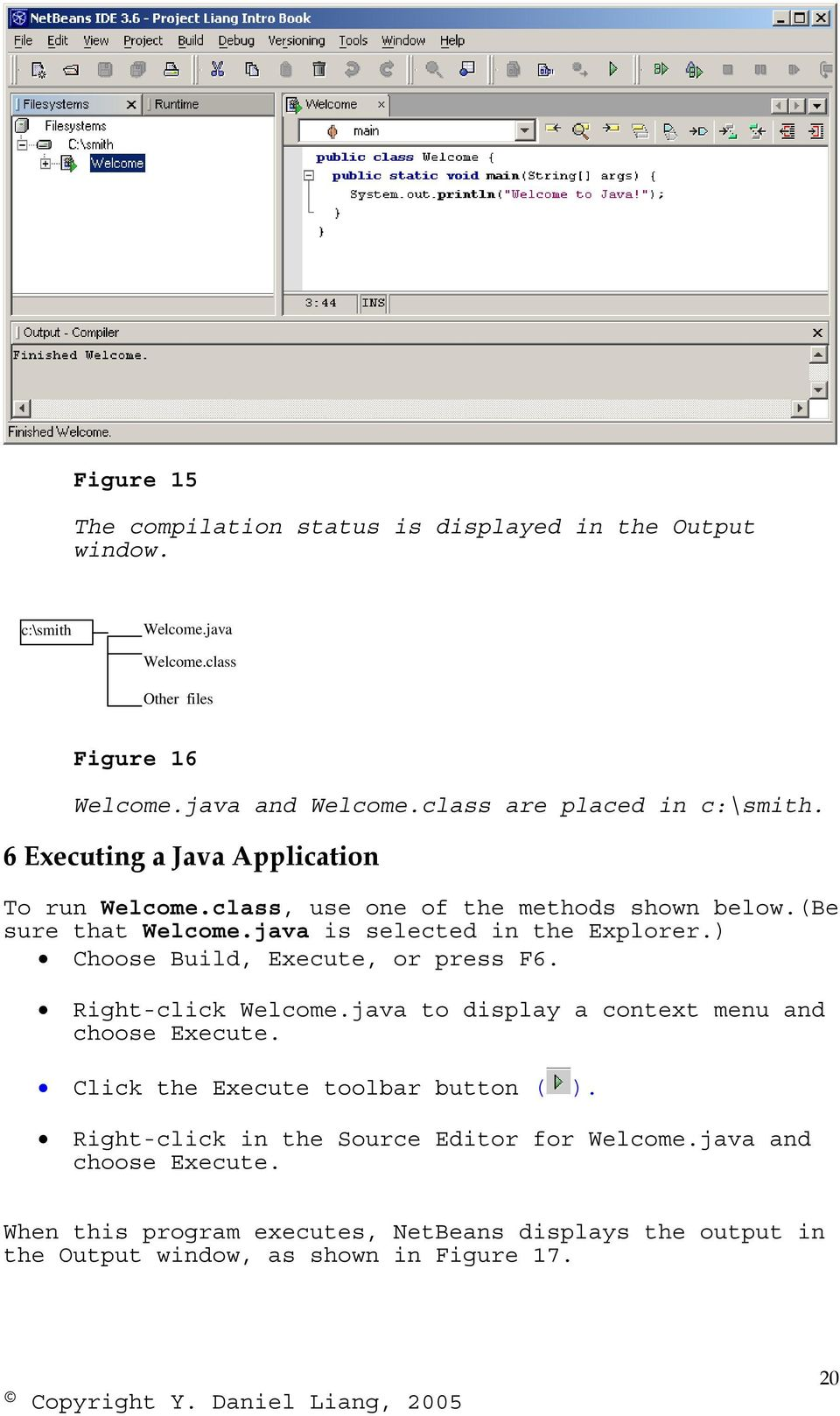 java is selected in the Explorer.) Choose Build, Execute, or press F6. Right-click Welcome.java to display a context menu and choose Execute.