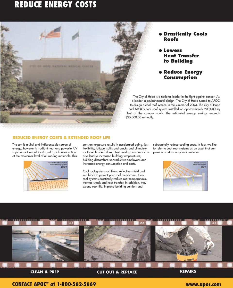In the summer of 2003, The City of Hope had APOC s cool roof system installed on approximately 200,000 sq feet of the campus roofs. The estimated energy savings exceeds $25,000.00 annually.