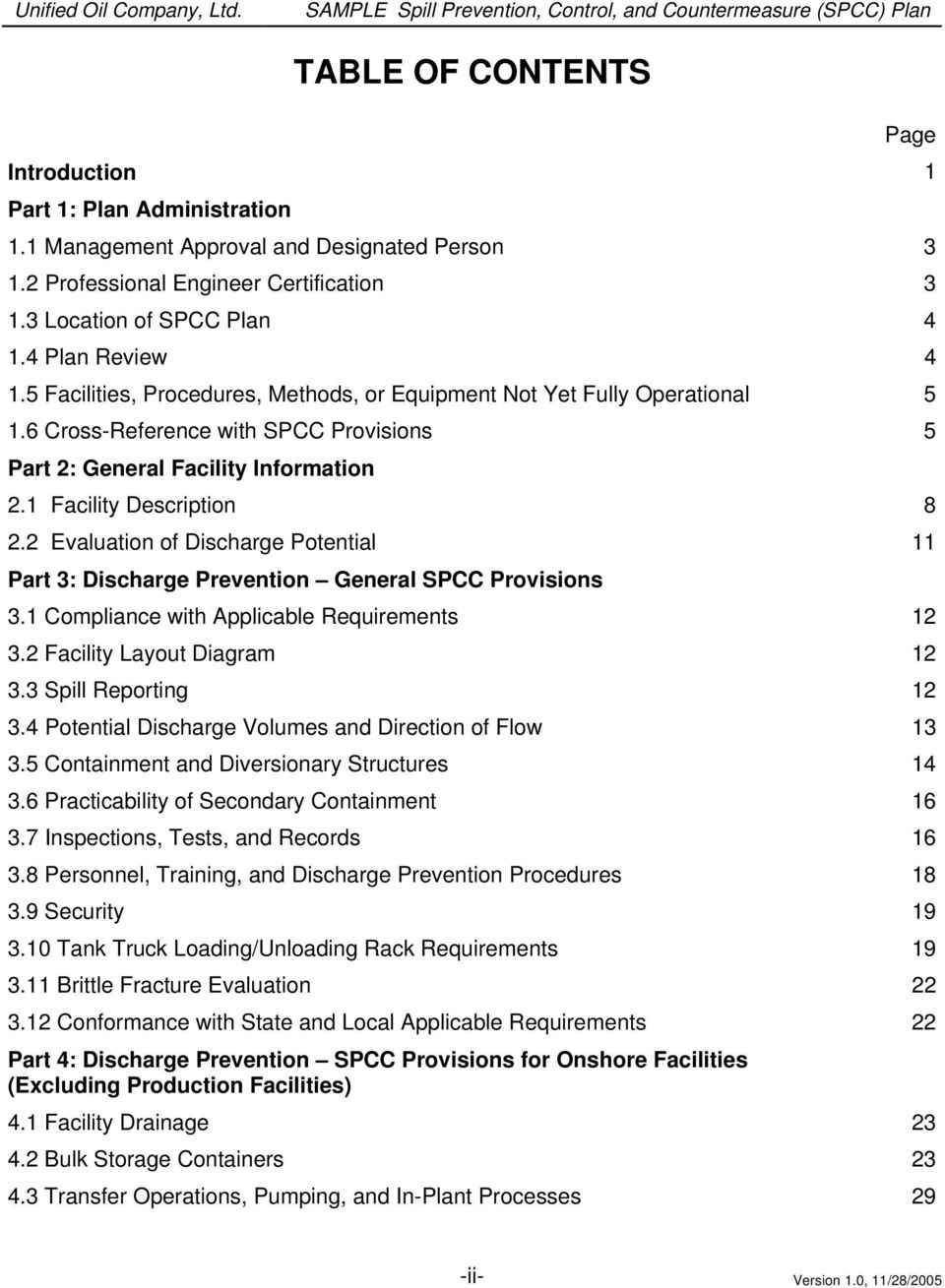 1 Facility Description 8 2.2 Evaluation of Discharge Potential 11 Part 3: Discharge Prevention General SPCC Provisions 3.1 Compliance with Applicable Requirements 12 3.2 Facility Layout Diagram 12 3.