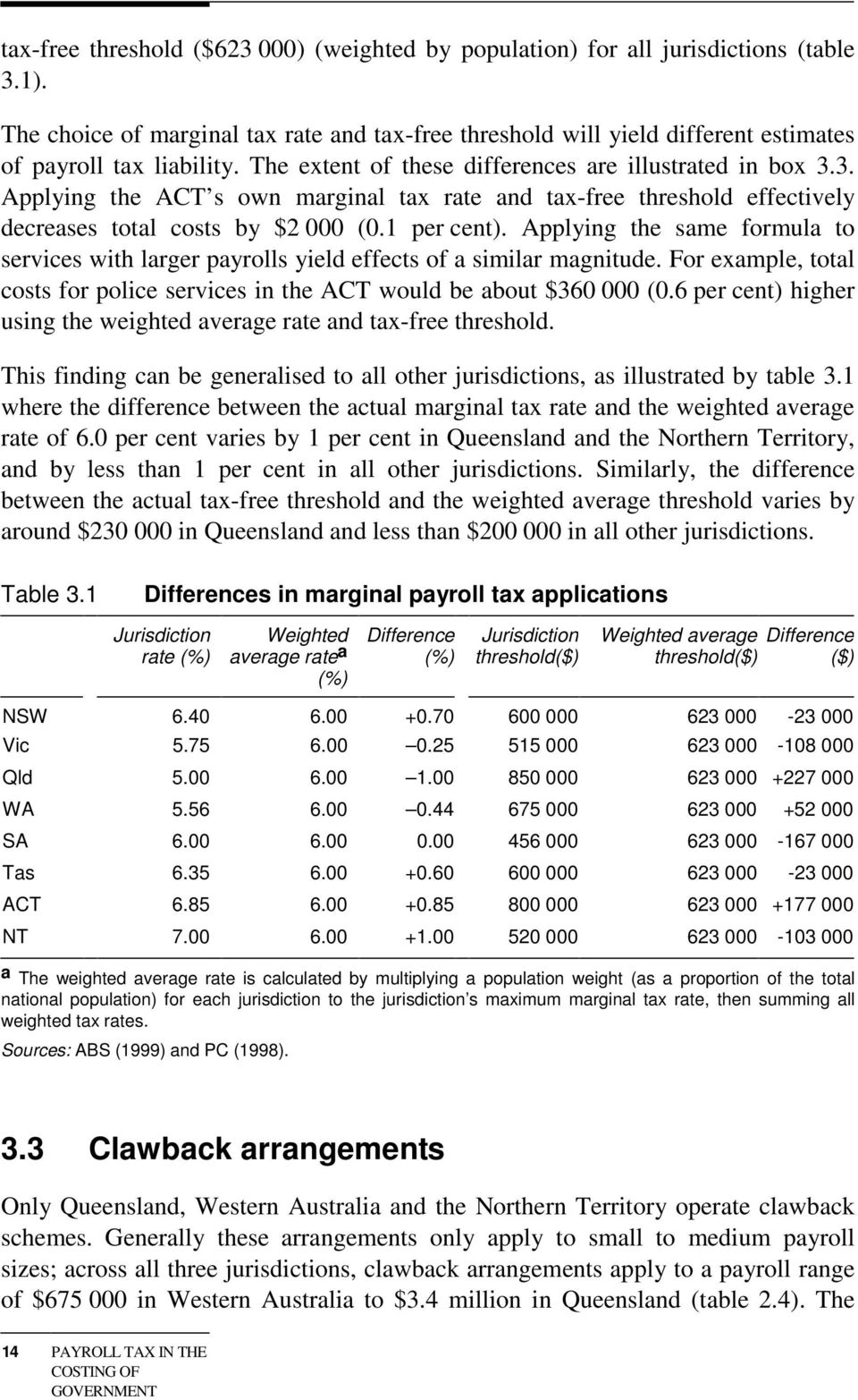 3. Applying the ACT s own marginal tax rate and tax-free threshold effectively decreases total costs by $2 000 (0.1 per cent).