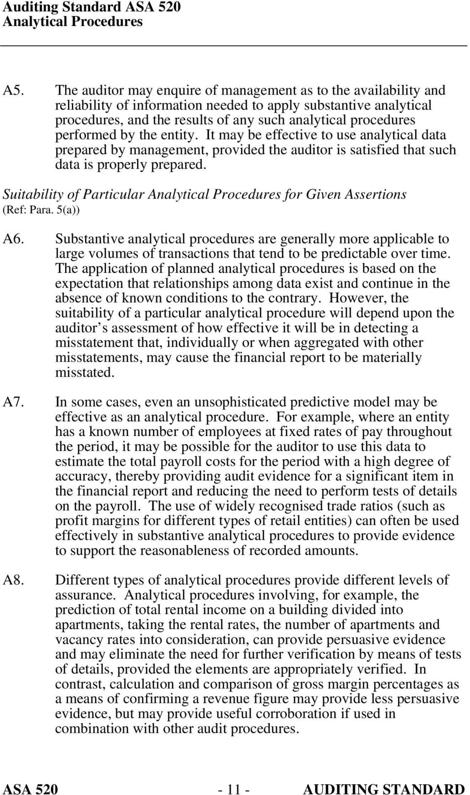 Suitability of Particular for Given Assertions (Ref: Para. 5(a)) A6.