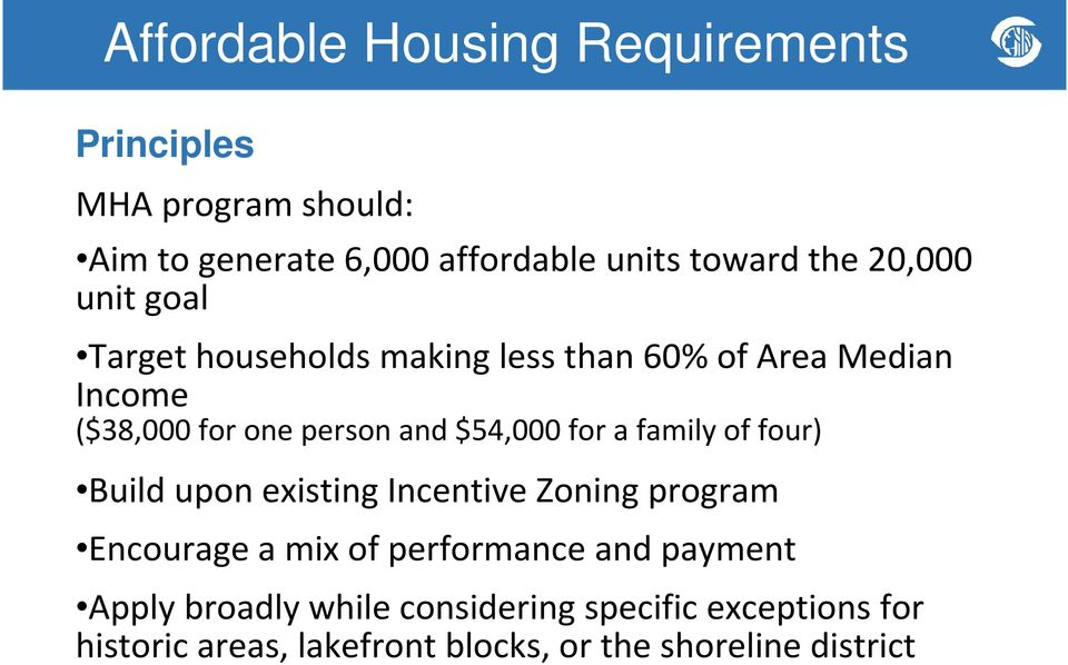 $54,000 for a family of four) Build upon existing Incentive Zoning program Encourage a mix of performance and