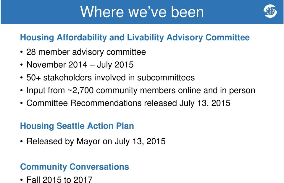 community members online and in person Committee Recommendations released July 13, 2015