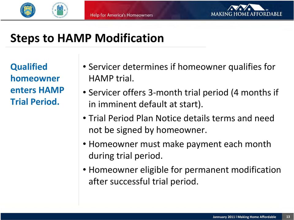 Servicer offers 3 month trial period (4 months if in imminent default at start).