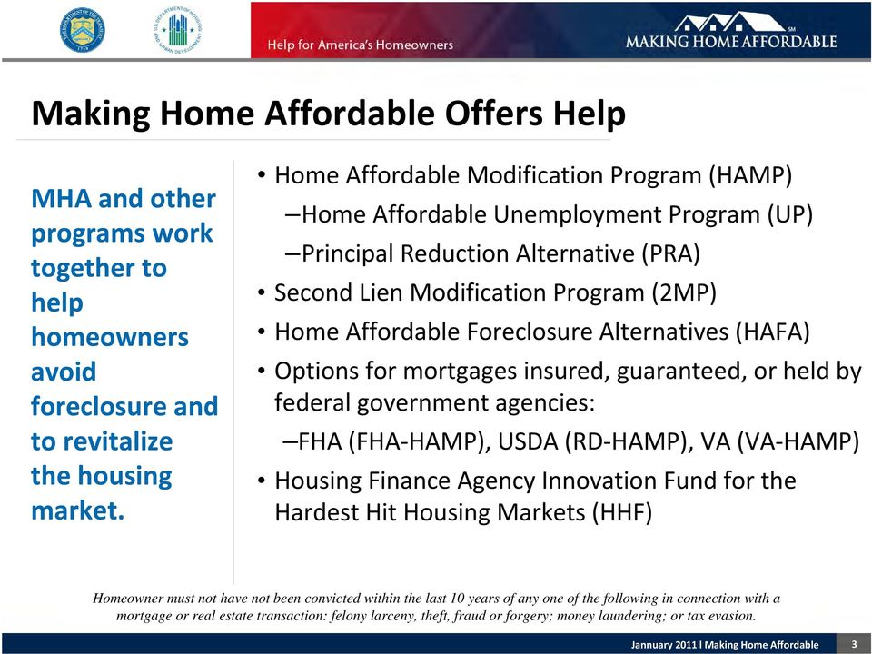 Alternatives (HAFA) Options for mortgages insured, guaranteed, or held by federal government agencies: FHA (FHA HAMP), USDA (RD HAMP), VA (VA HAMP) Housing Finance Agency Innovation Fund for the