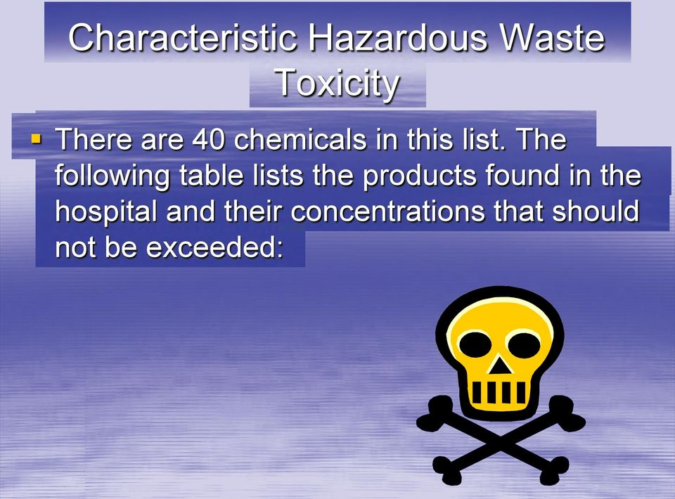 The following table lists the products found in