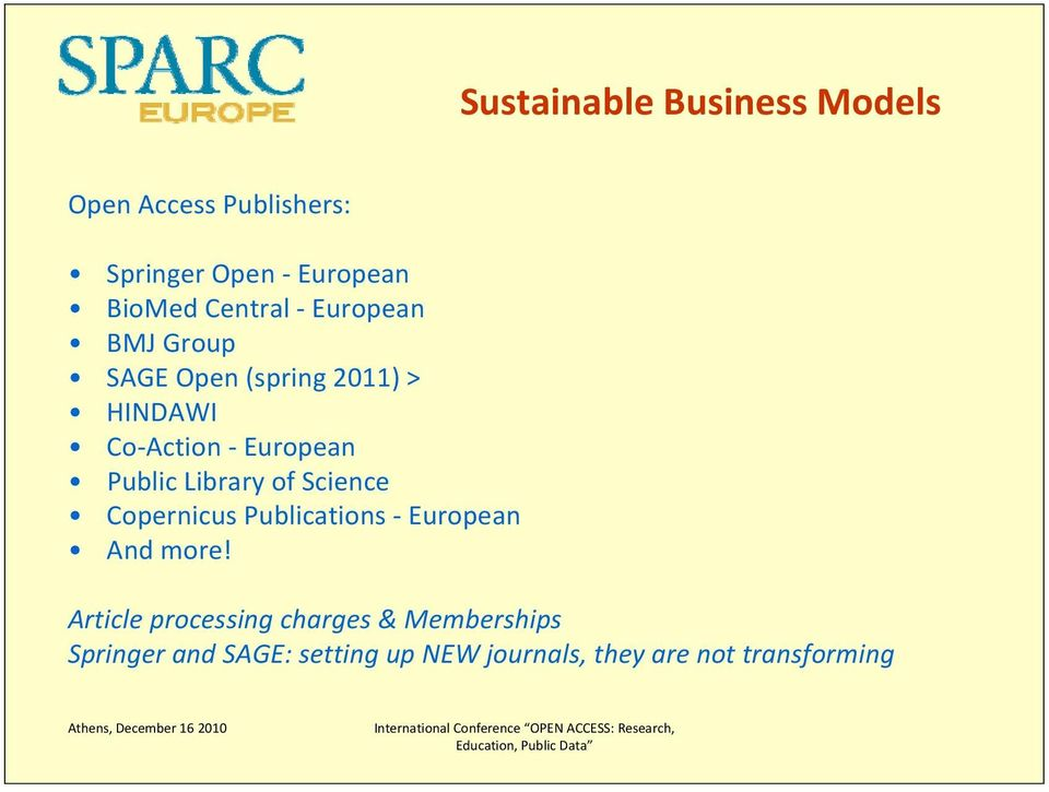 European Public Library of Science Copernicus Publications European And more!