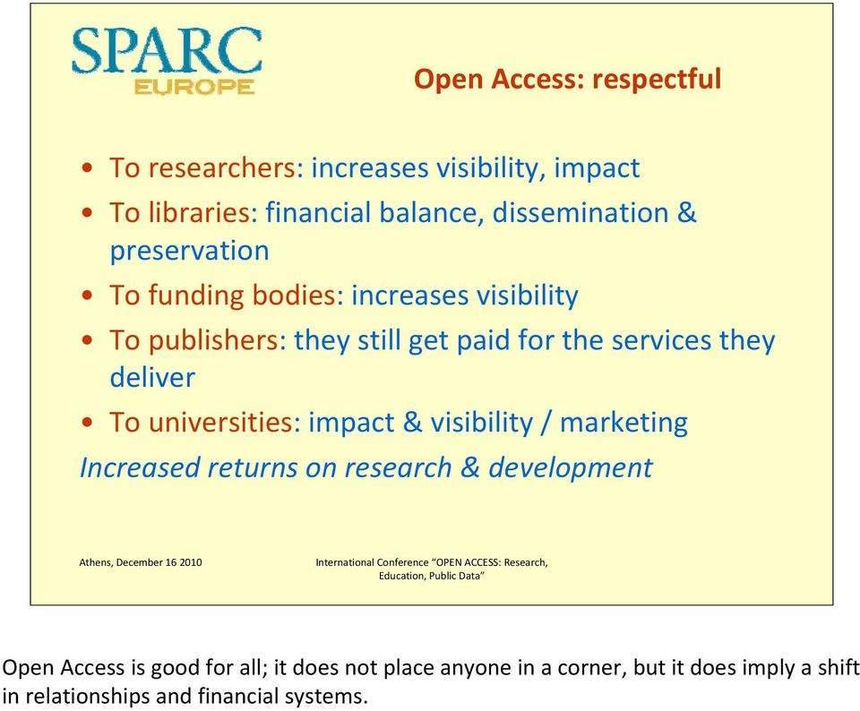 deliver To universities: impact & visibility / marketing Increased returns on research & development Open Access is