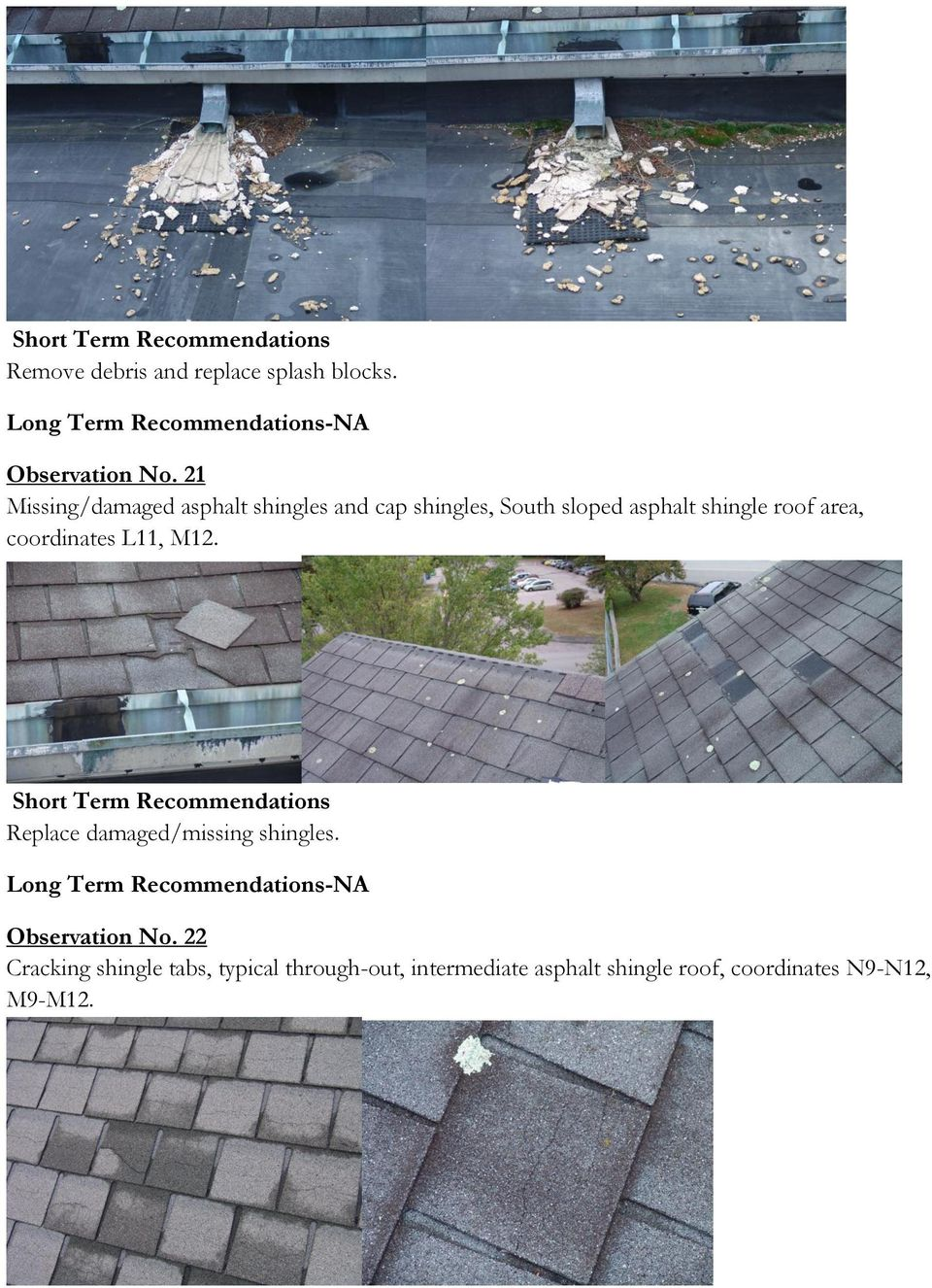 roof area, coordinates L11, M12. Replace damaged/missing shingles.