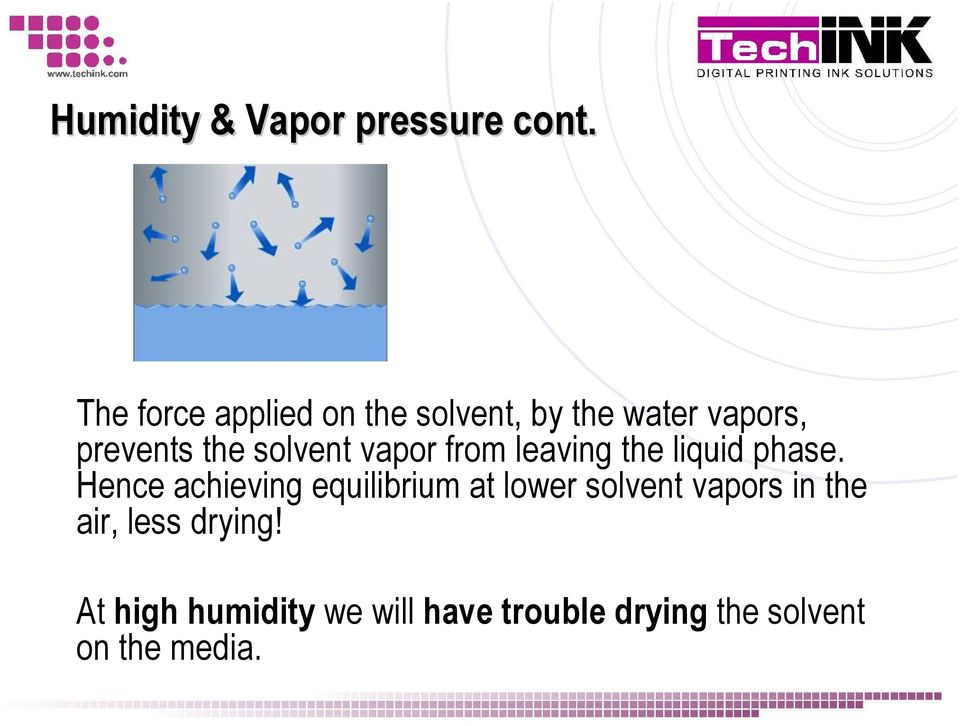 solvent vapor from leaving the liquid phase.