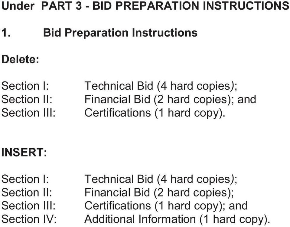 copies); Financial Bid ( hard copies); and Certifications ( hard copy).