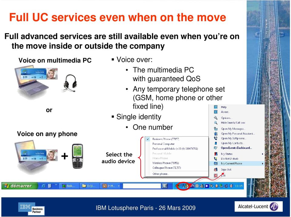 any phone Voice over: The multimedia PC with guaranteed QoS Any temporary telephone set