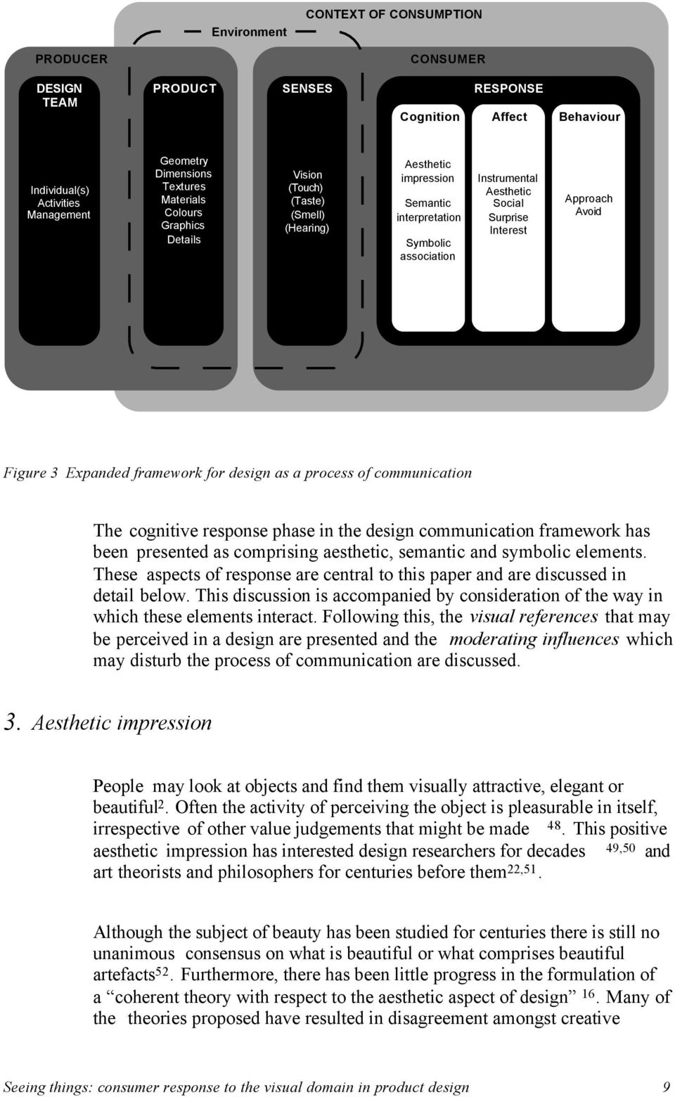 Expanded framework for design as a process of communication The cognitive response phase in the design communication framework has been presented as comprising aesthetic, semantic and symbolic