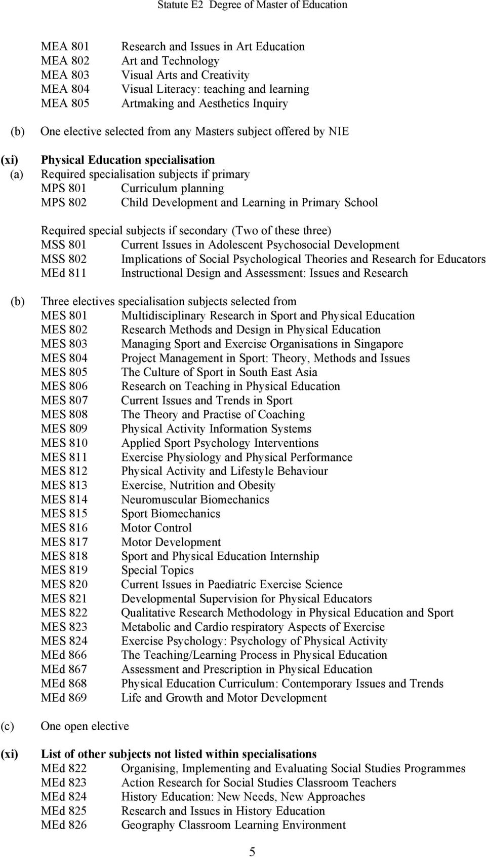 secondary (Two of these three) MSS 801 Current Issues in Adolescent Psychosocial Development MSS 802 Implications of Social Psychological Theories and Research for Educators MEd 811 Instructional
