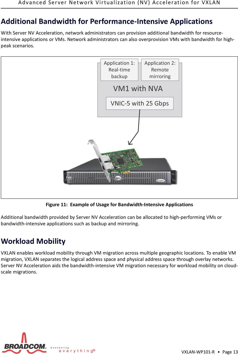 Figure 11: Example of Usage for Bandwidth-Intensive Applications Additional bandwidth provided by Server NV Acceleration can be allocated to high-performing VMs or bandwidth-intensive applications