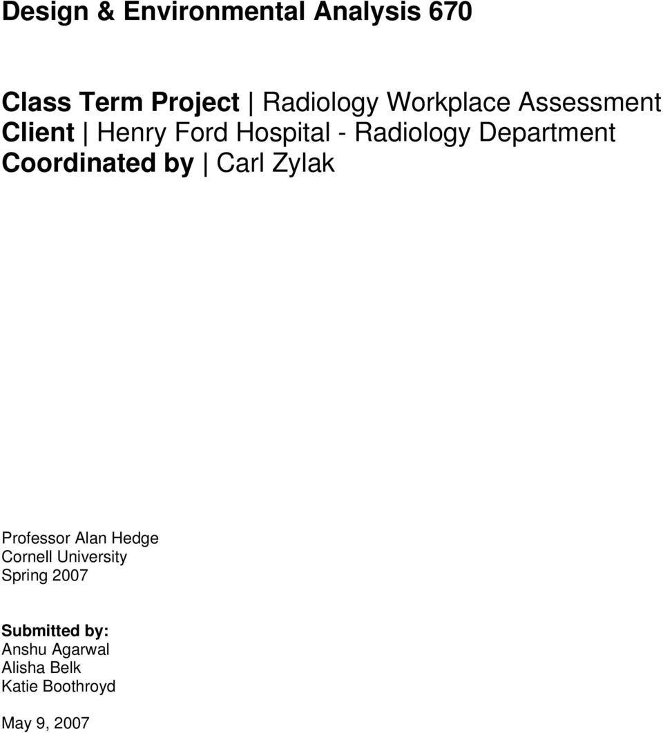 Class Term Project Radiology Workplace Assessment Client Henry Ford