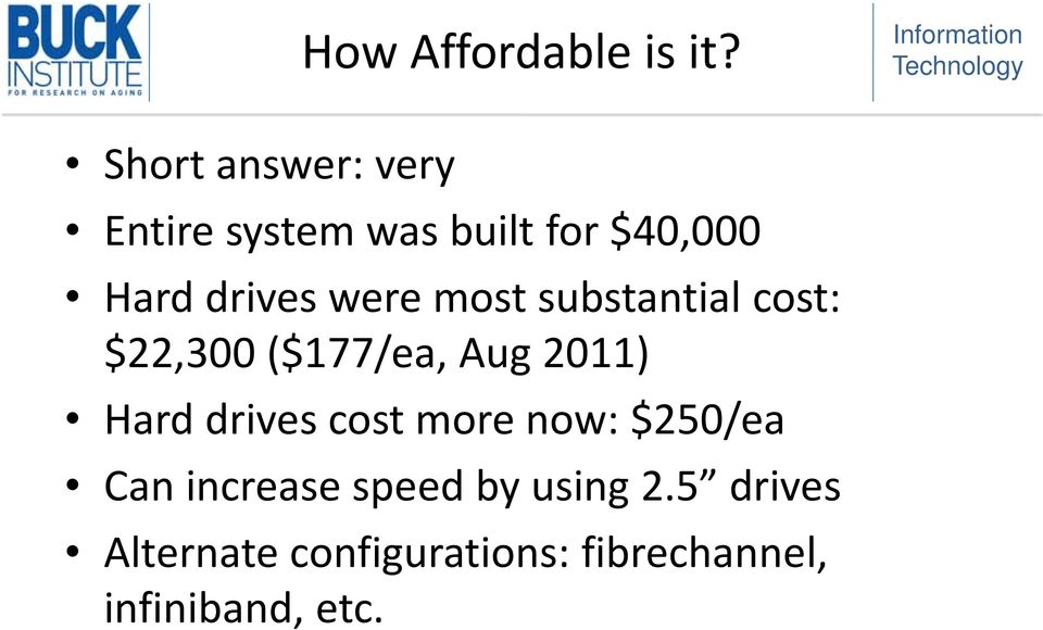 were most substantial cost: $22,300 ($177/ea, Aug 2011) Hard drives
