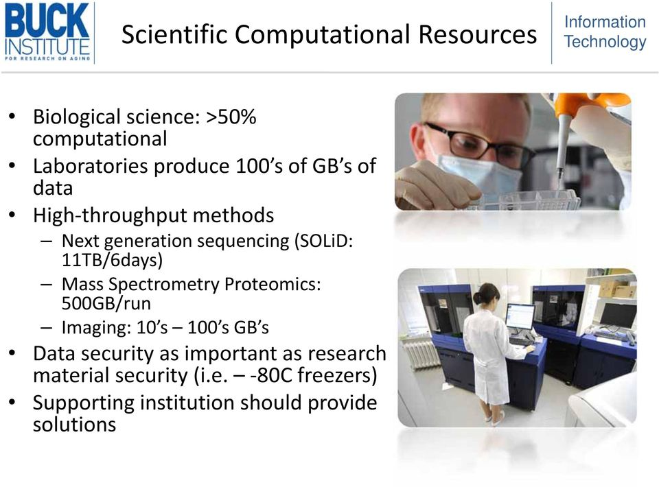 Mass Spectrometry Proteomics: 500GB/run Imaging: 10 s 100 s GB s Data security as important as