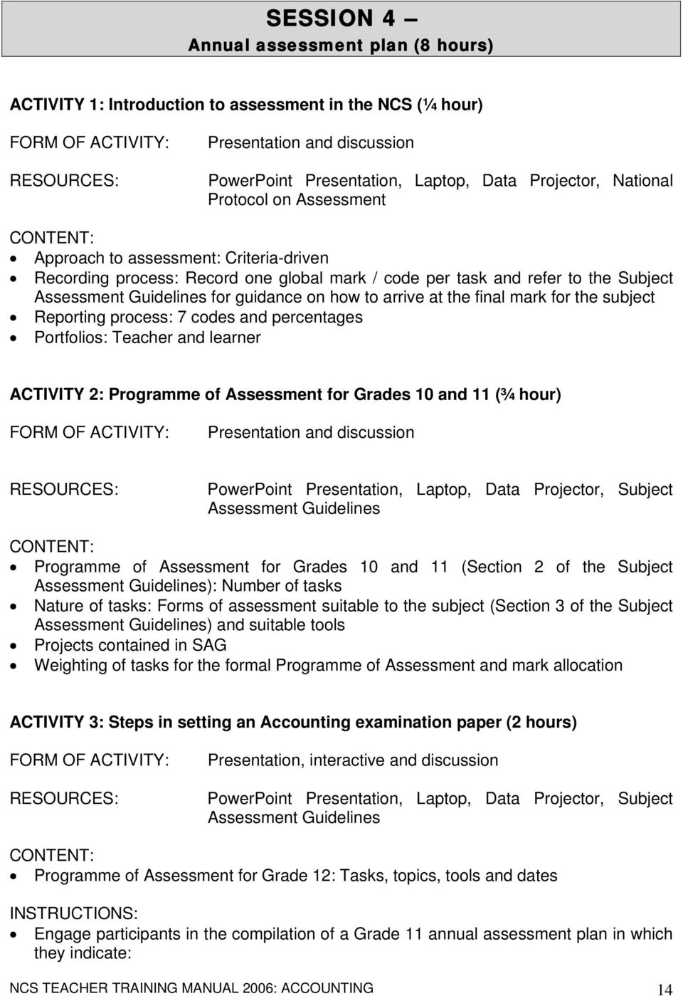 mark for the subject Reporting process: 7 codes and percentages Portfolios: Teacher and learner ACTIVITY 2: Programme of Assessment for Grades 10 and 11 (¾ hour) Presentation and discussion