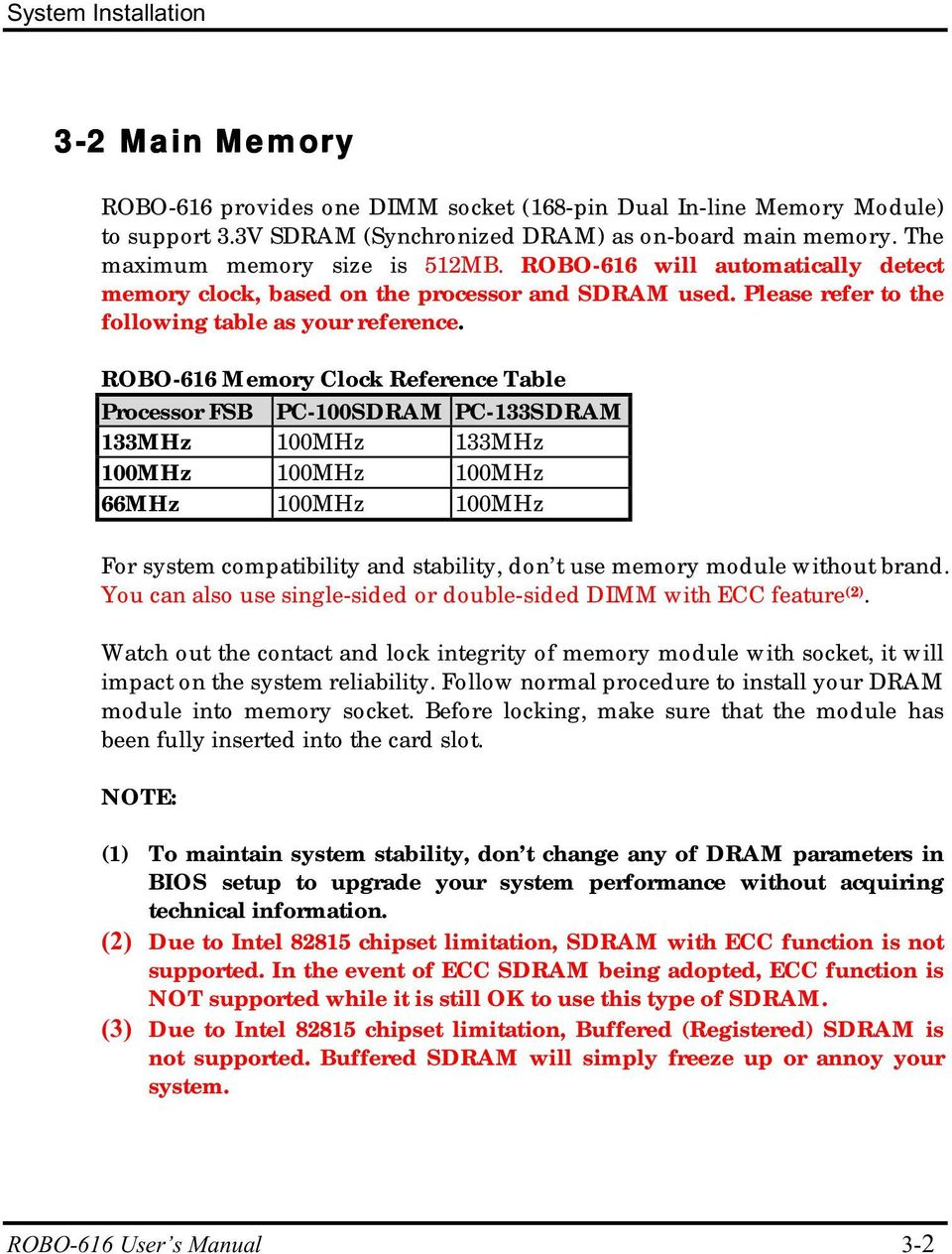 ROBO-616 Memory Clock Reference Table Processor FSB PC-100SDRAM PC-133SDRAM 133MHz 100MHz 133MHz 100MHz 100MHz 100MHz 66MHz 100MHz 100MHz For system compatibility and stability, don t use memory