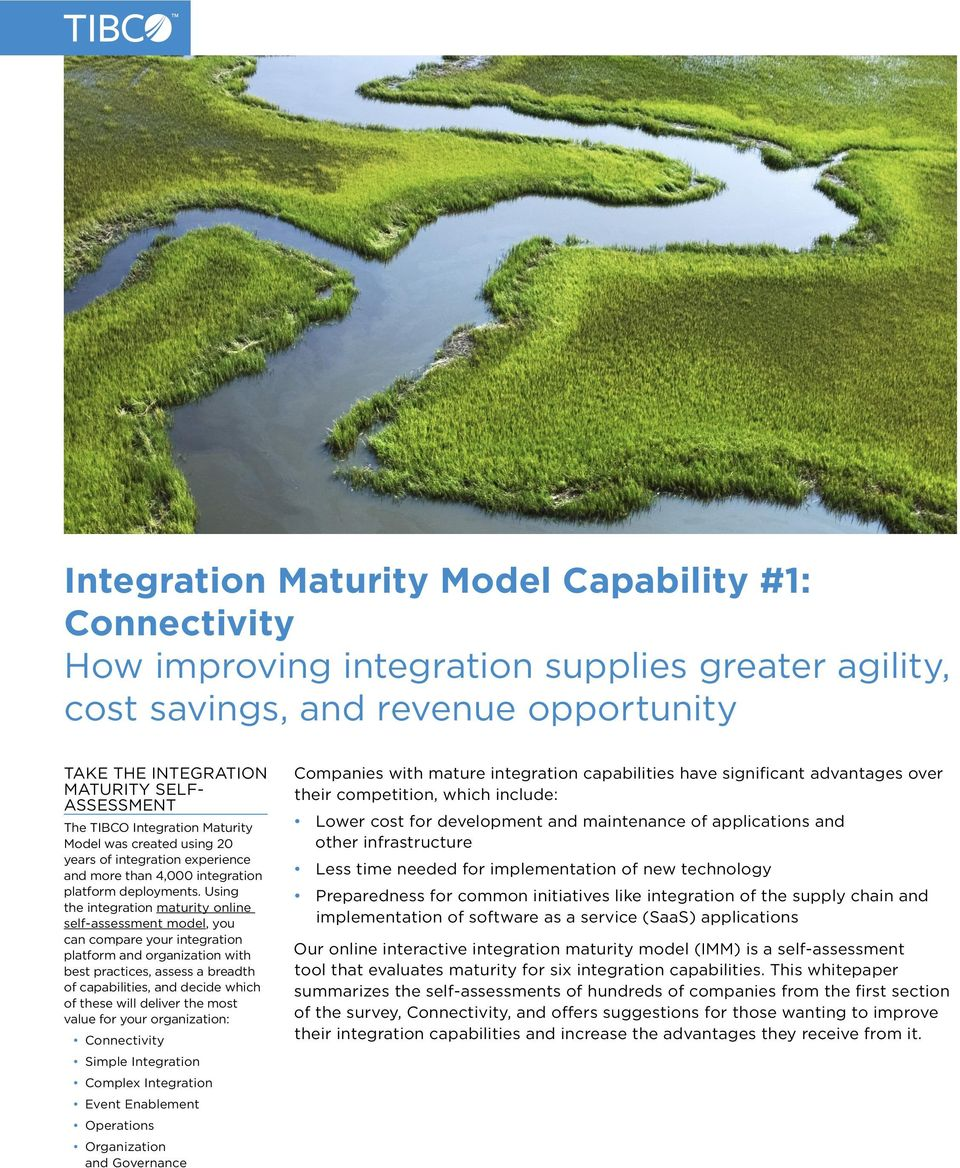 Using the integration maturity online self-assessment model, you can compare your integration platform and organization with best practices, assess a breadth of capabilities, and decide which of