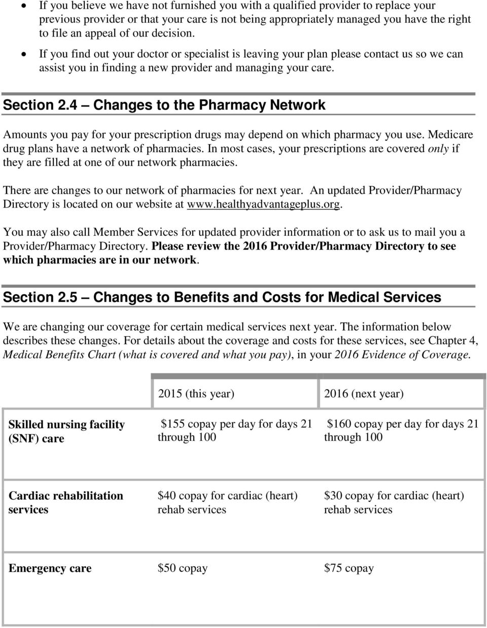4 Changes to the Pharmacy Network Amounts you pay for your prescription drugs may depend on which pharmacy you use. Medicare drug plans have a network of pharmacies.