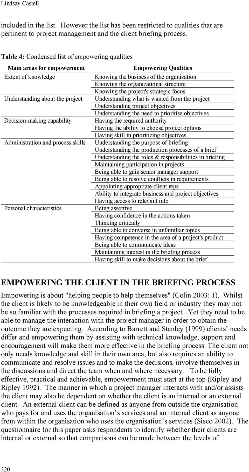 characteristics Empowering Qualities Knowing the business of the organization Knowing the organizational structure Knowing the project's strategic focus Understanding what is wanted from the project