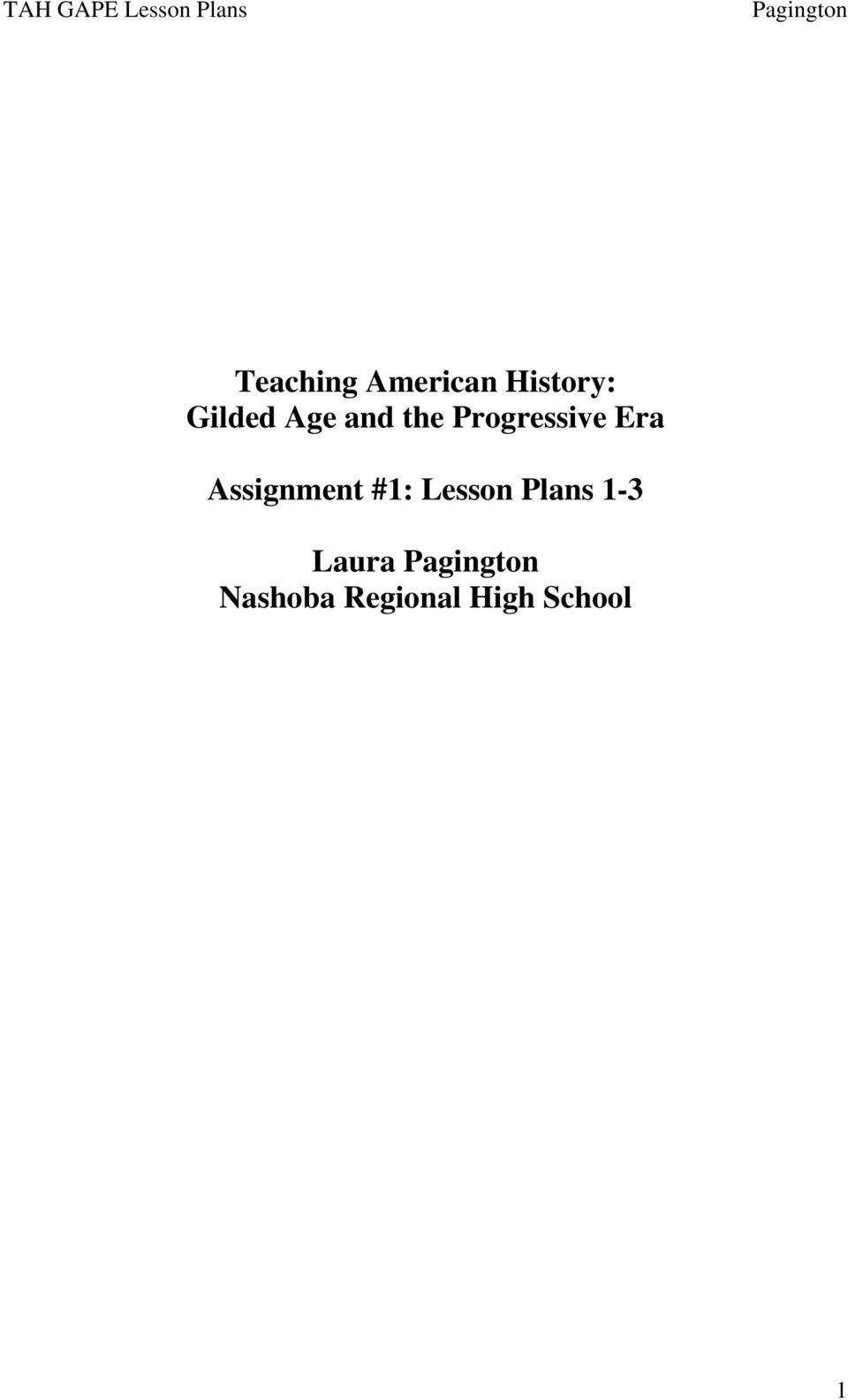 worksheet Progressive Era Worksheets teaching american history gilded age and the progressive era assignment 1 lesson plans
