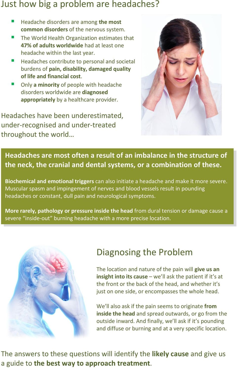 Headaches contribute to personal and societal burdens of pain, disability, damaged quality of life and financial cost.