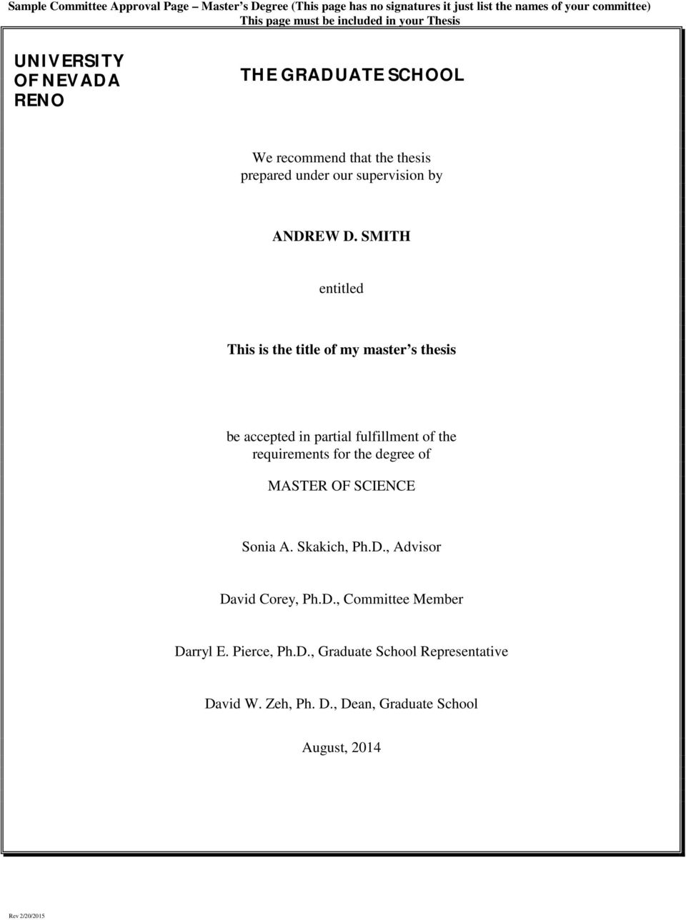 SMITH entitled This is the title of my master s thesis be accepted in partial fulfillment of the requirements for the degree of MASTER OF SCIENCE Sonia