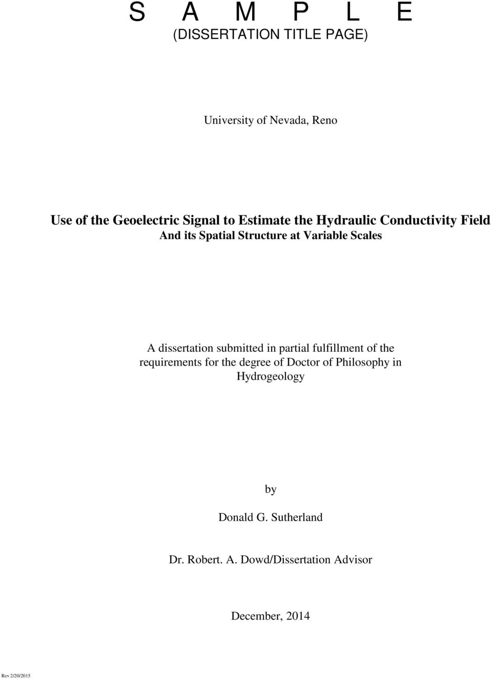 dissertation submitted in partial fulfillment of the requirements for the degree of Doctor of