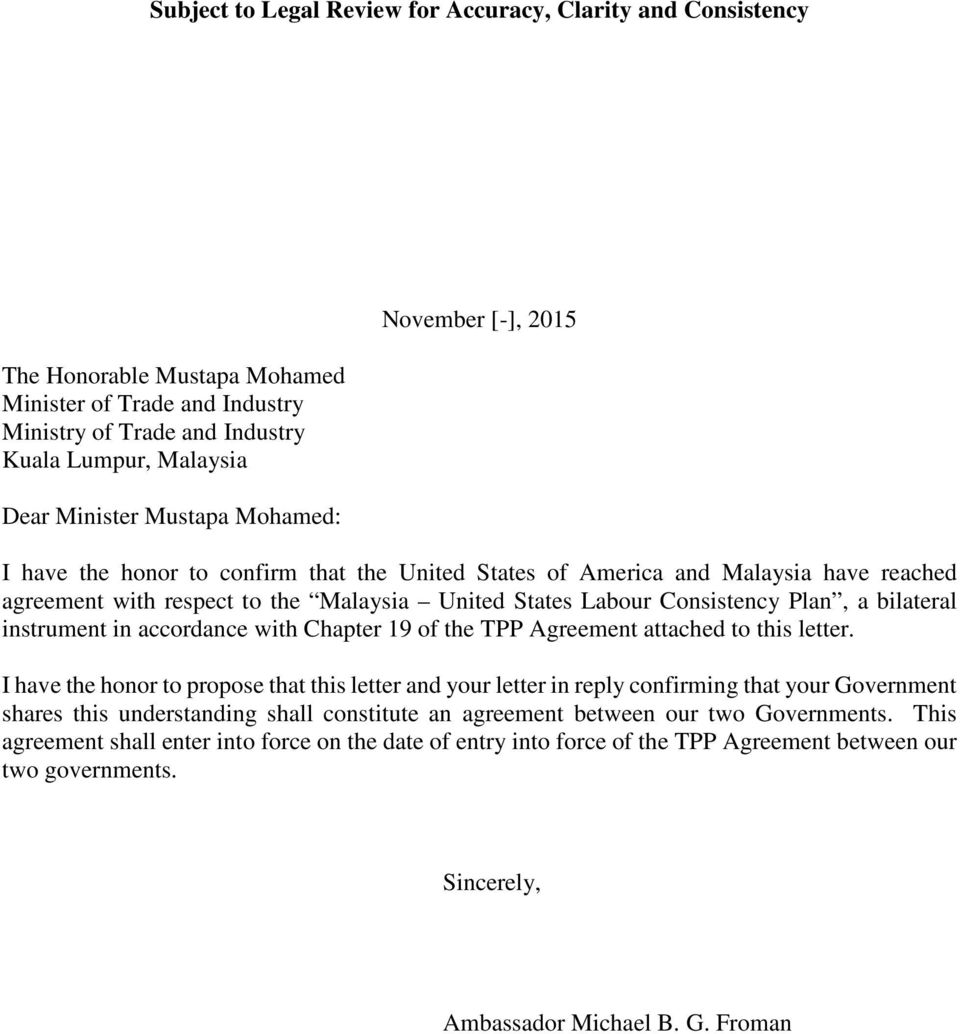 the TPP Agreement attached to this letter.