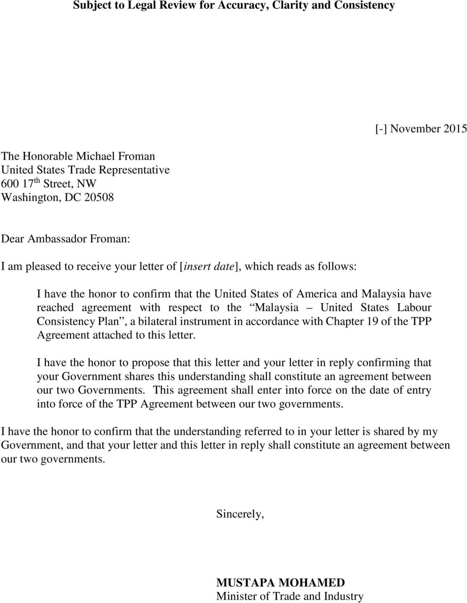 bilateral instrument in accordance with Chapter 19 of the TPP Agreement attached to this letter.