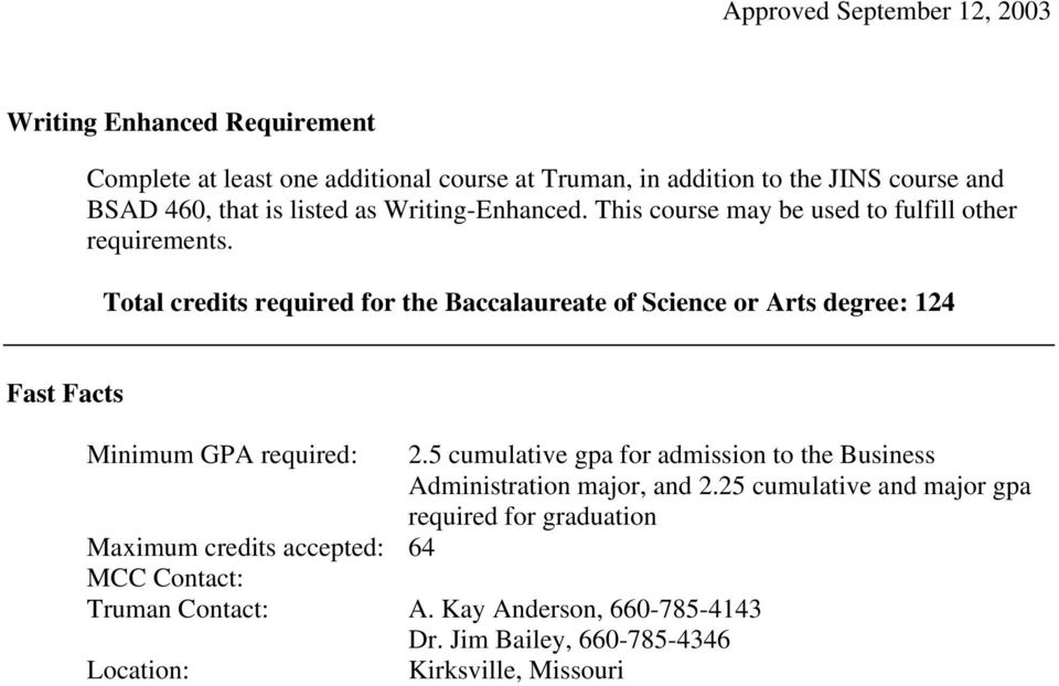 Total credits required for the Baccalaureate of Science or Arts degree: 124 Fast Facts Minimum GPA required: 2.
