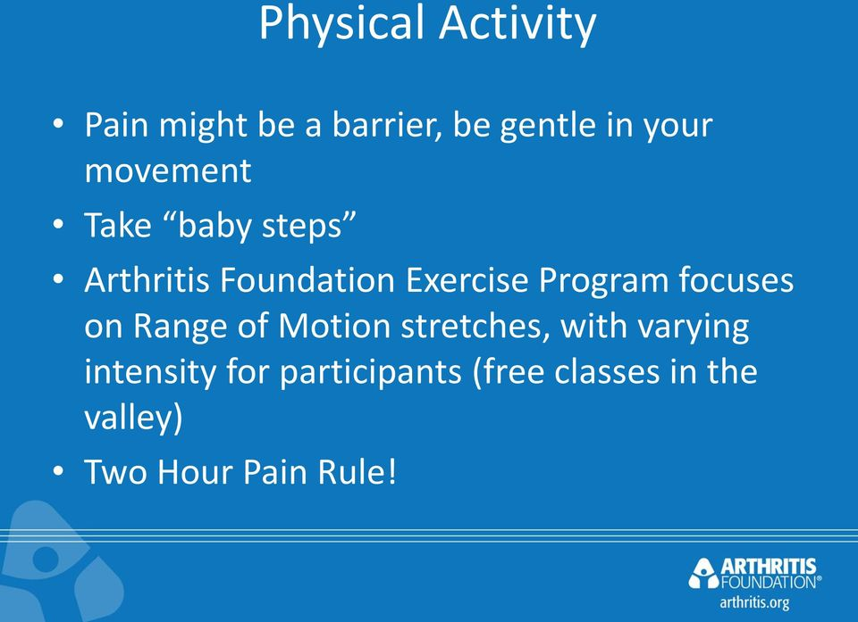 focuses on Range of Motion stretches, with varying intensity