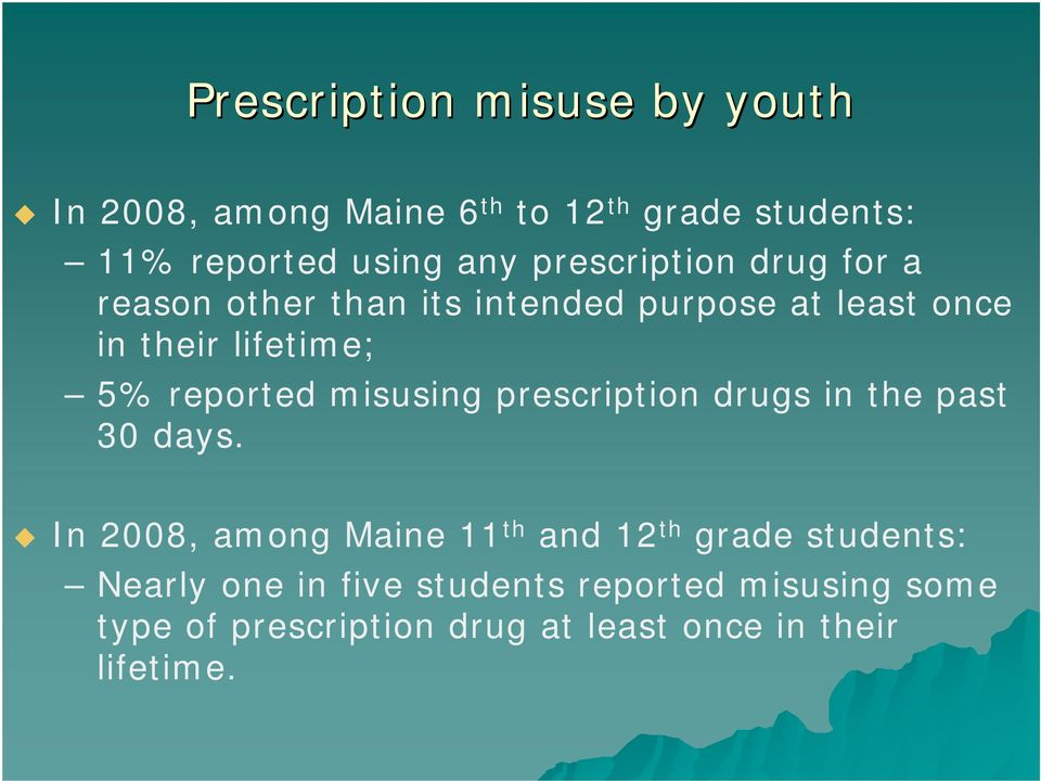 reported misusing prescription drugs in the past 30 days.