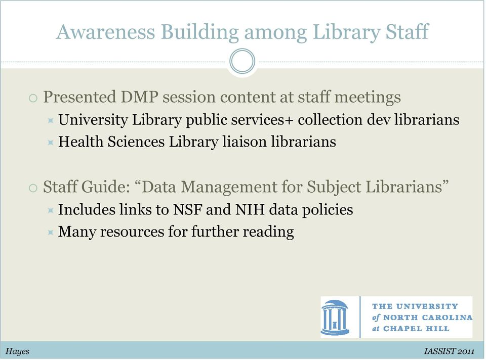 Sciences Library liaison librarians Staff Guide: Data Management for Subject
