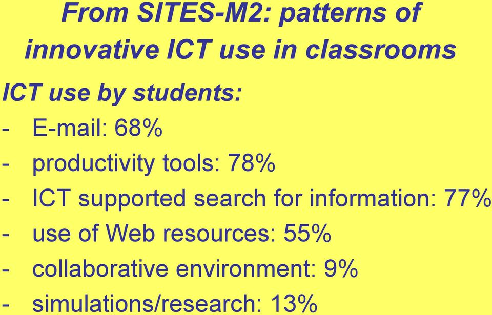 ICT supported search for information: 77% - use of Web
