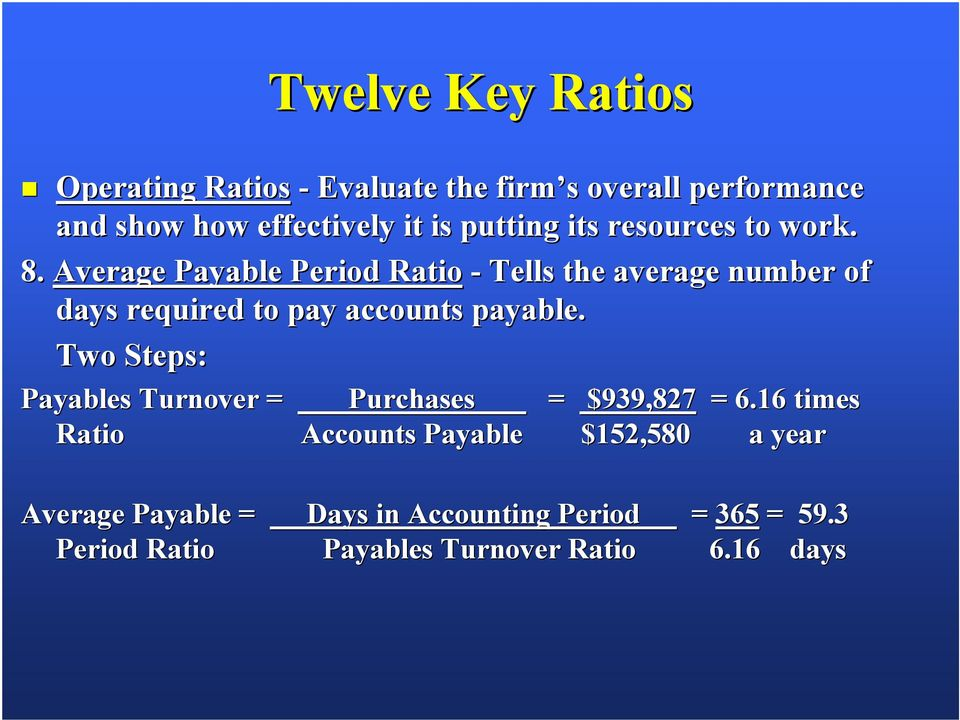 Average Payable Period Ratio - Tells the average number of days required to pay accounts payable.