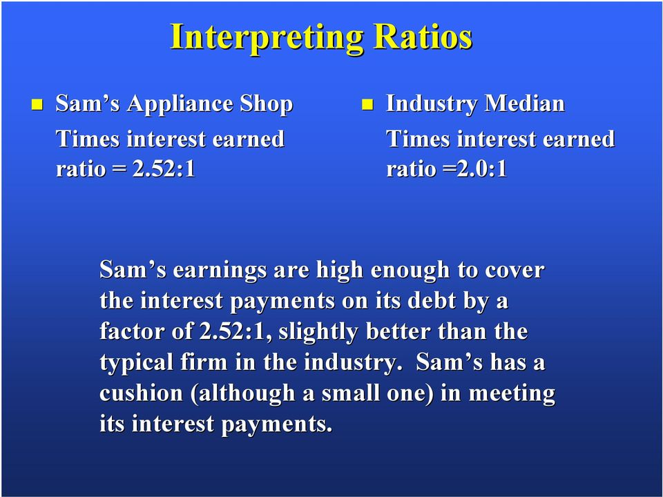 0:1 Sam s earnings are high enough to cover the interest payments on its debt by a factor