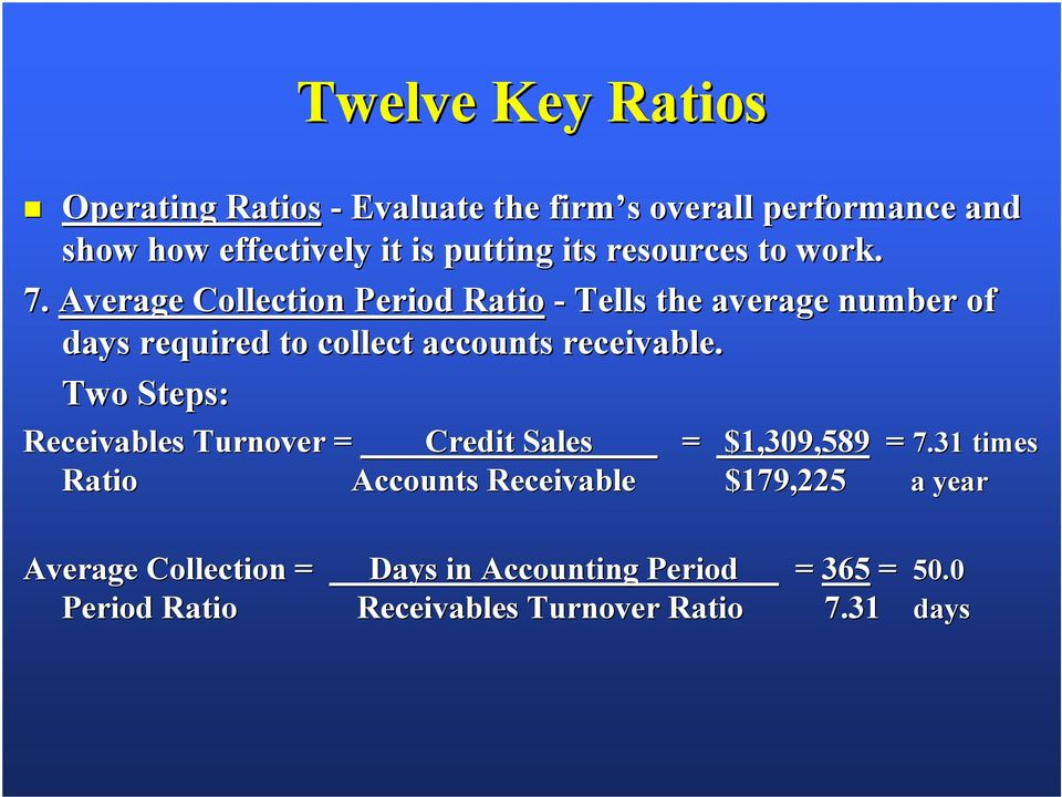 Average Collection Period Ratio - Tells the average number of days required to collect accounts receivable.