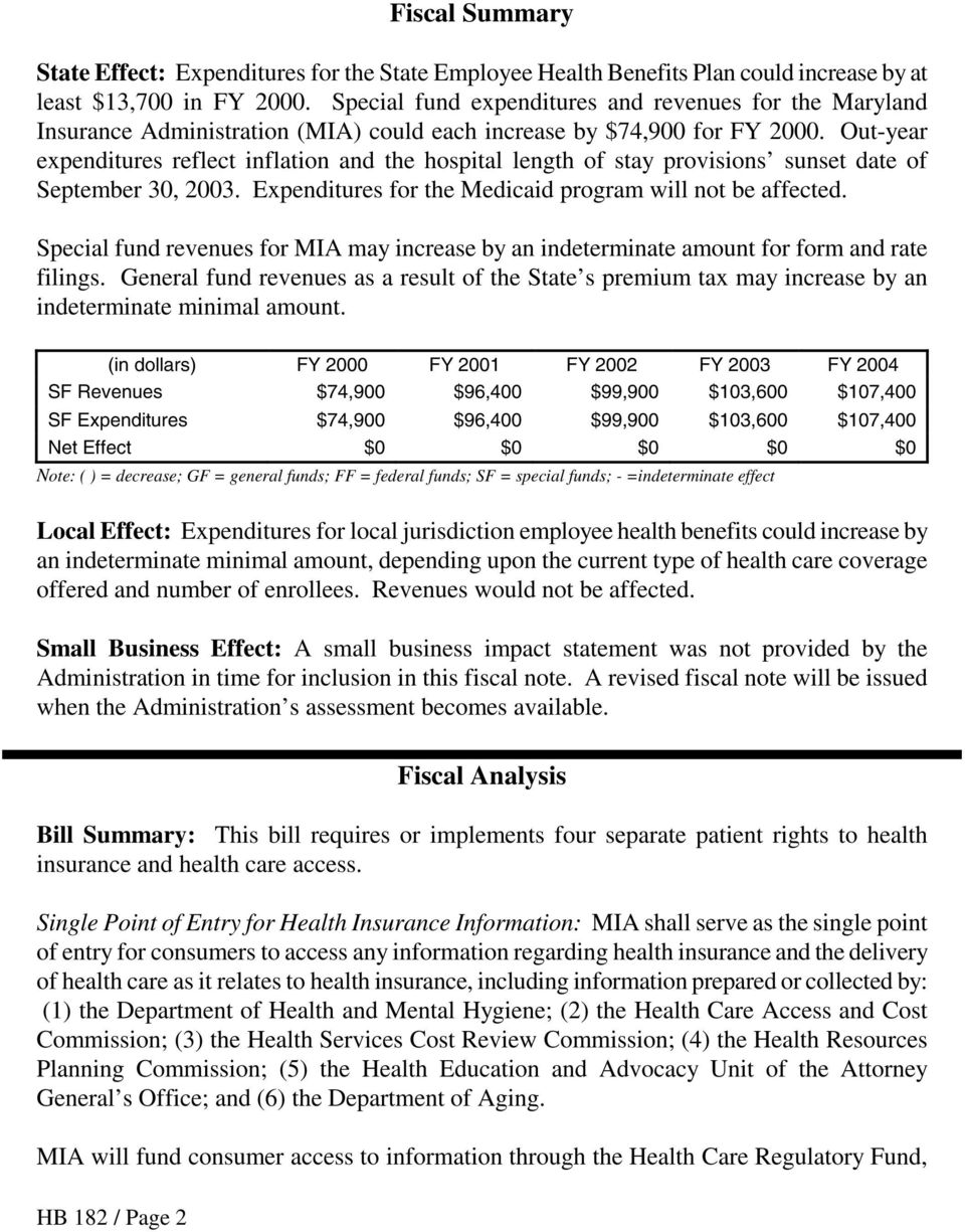 Out-year expenditures reflect inflation and the hospital length of stay provisions sunset date of September 30, 2003. Expenditures for the Medicaid program will not be affected.