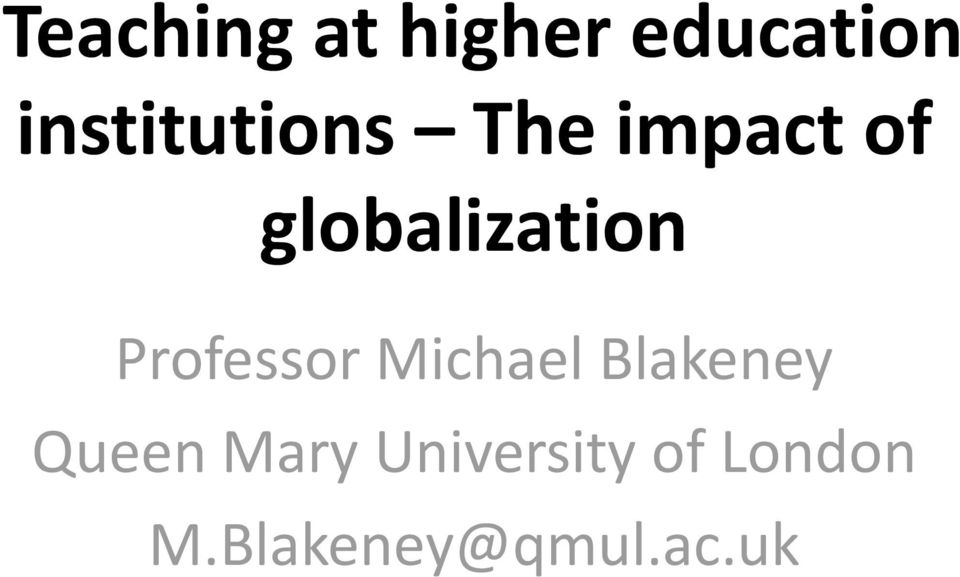 globalization Professor Michael