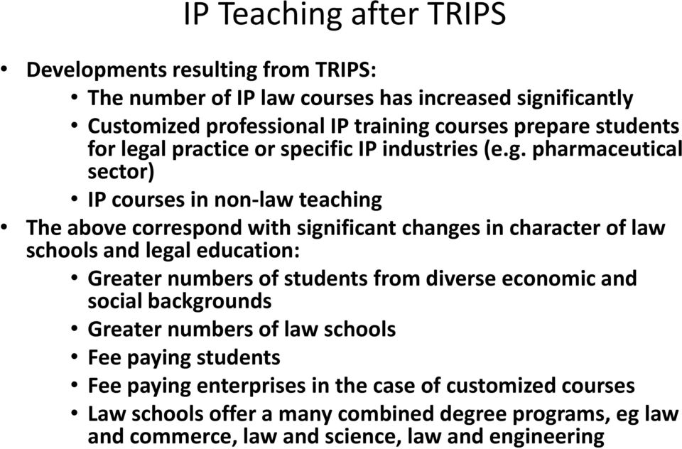 l practice or specific IP industries (e.g.